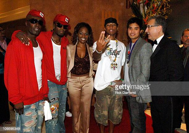 Damon Hall and AaRon Hall of GUY Catherine Brewton BMI Vice President Writer/Publisher Relations Pharrell Williams Chad Hugo and Del R Bryant...