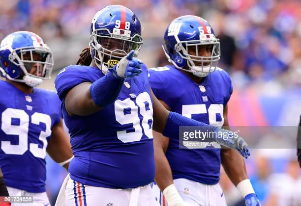 Damon Harrison of the New York Giants reacts against the Los Angeles Chargers during an NFL game at MetLife Stadium on October 8 2017 in East...