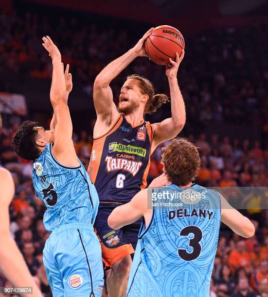 Damon Heir of the Taipans attempts a jump shot during the round 15 NBL match between the Cairns Taipans and the New Zealand Breakers at Cairns...