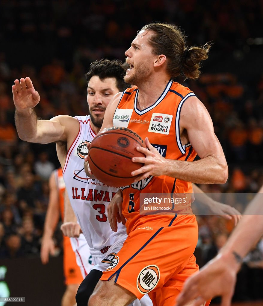 Damon Heir of the Taipans drives to the basket during the round one NBL match between the Cairns Taipans and the Illawarra Hawks at Cairns Convention Centre on October 6, 2017 in Cairns, Australia.