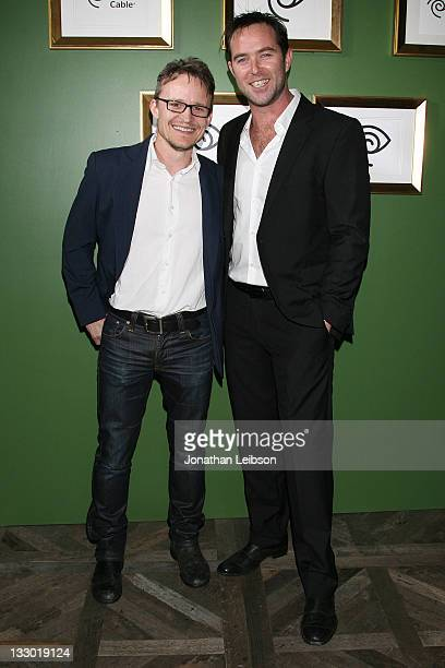Damon Herriman and Sullivan Stapleton attend the Time Warner Cable Signature Home Celebrity Event At The Soho House on November 15, 2011 in West...