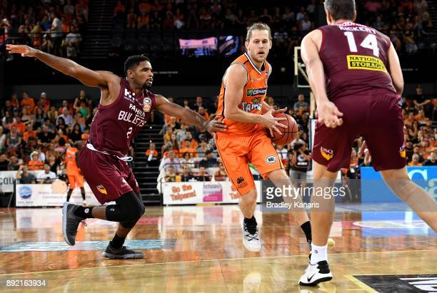 Damon Heuir of the Taipans takes on the defence during the round 10 NBL match between the Cairns Taipans and the Brisbane Bullets at Cairns...