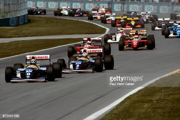 Damon Hill Alain Prost Gerhard Berger Jean Alesi Ayrton Senna WilliamsRenault FW15C FerrariF93A McLarenFord MP4/8 Grand Prix of San Marino Autodromo...