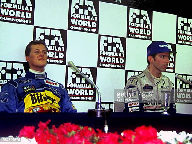 Damon Hill and Michael Schumacher during a press conference in Adelaide after controversial the Australian GP, 1994.