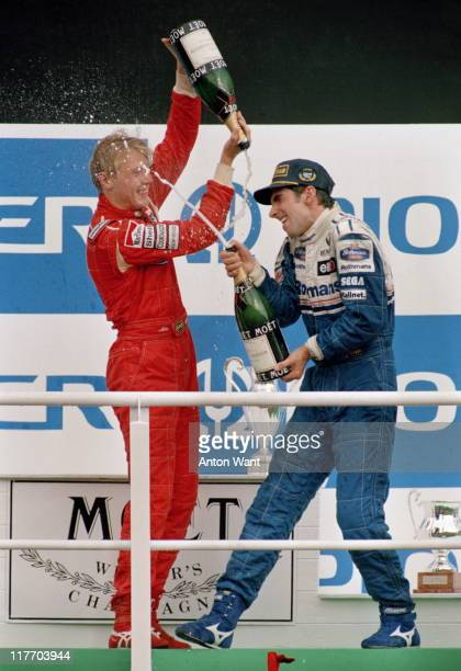 Damon Hill driver of the Rothmans Williams Renault Williams FW16B Renault 35 V10 is showered with champagne by Mika Hakkinen after winning the...