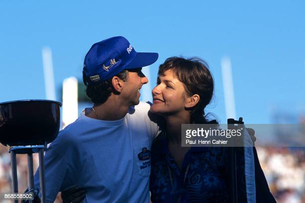 Damon Hill Georgie Hill Grand Prix of Japan Suzuka Circuit 13 October 1996 Happy couple Damon Hill and wife Georgie after Damon took the World...