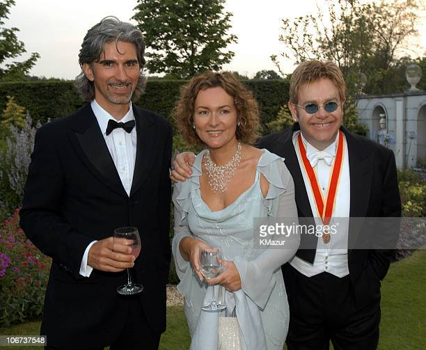 Damon Hill his Wife Georgie and Sir Elton John during The Fifth Annual White Tie Tiara Ball to Benefit the Elton John Aids Foundation in Association...