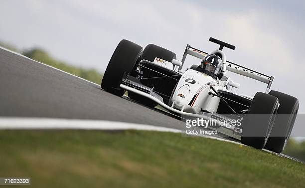 Damon Hill in action during testing for the GP Masters of Great Britain at Silverstone Circuit on August 10 in Silverstone England