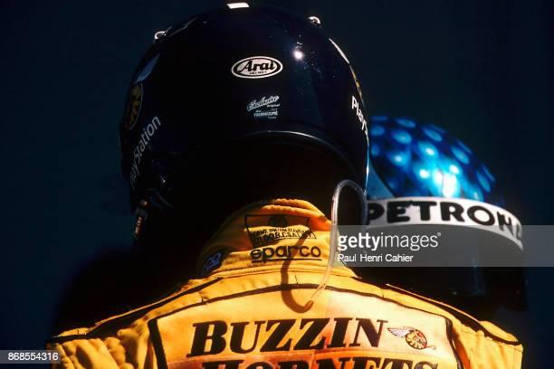 Damon Hill, Jean Alesi, Jordan-Mugen-Honda 199, Grand Prix of Great Britain, Silverstone Circuit, 11 July 1999. Damon Hill with Jean Alesi in the...