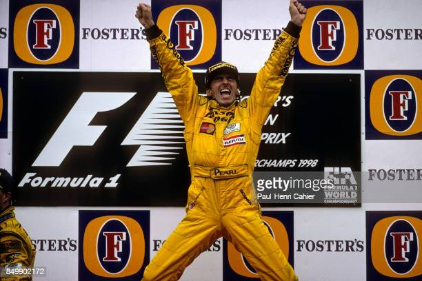 Damon Hill, Jordan-Mugen-Honda 198, Grand Prix of Belgium, Circuit de Spa-Francorchamps, Francorchamps, Beligium, August 30, 1998.