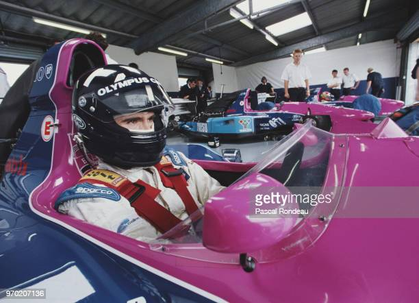 Damon Hill of Great Britain and son of former two time Formula 1 world champion Graham sits aboard the Motor Racing Developments Brabham BT60B Judd...