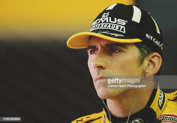 Damon Hill of Great Britain, driver of the B&H Jordan Jordan 199 Mugen Honda V10 during practice for the Formula One British Grand Prix on 10 July...