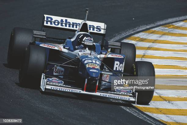 Damon Hill of Great Britain drives the Rothmans Williams Renault Williams FW18 Renault V10 during the Formula One Brazilian Grand Prix on 31 March...