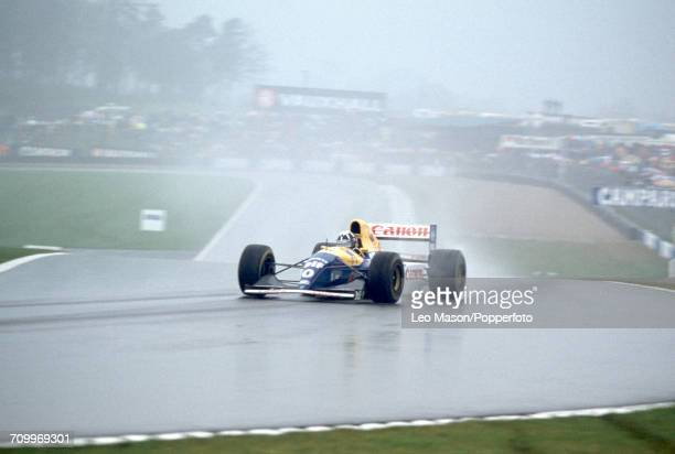 Damon Hill of Great Britain driving a Williams FW15C with a Renault RS5 35 V10 engine for Canon Williams Renault enroute to placing second during the...