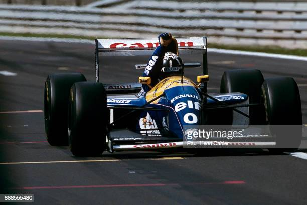 Damon Hill, Williams-Renault FW15C, Grand Prix of Belgium, Circuit de Spa-Francorchamps, 29 August 1993. Damon Hill raises his arm as he crosses the...