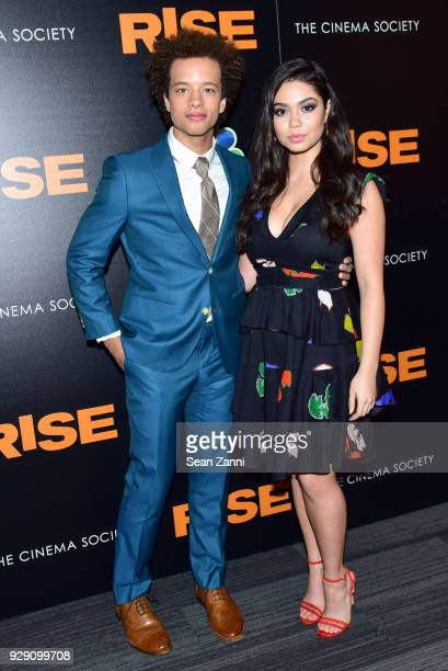 Damon J Gillespie and Auli'i Cravalho attend the premiere of Rise hosted by NBC The Cinema Society at The Landmark at 57 West on March 7 2018 in New...