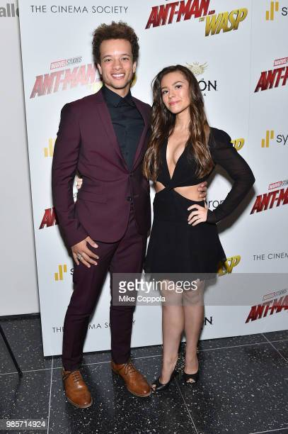 Damon J Gillespie and Grace Aki attend the screening of Marvel Studios' 'AntMan and The Wasp' hosted by The Cinema Society with Synchrony and Avion...