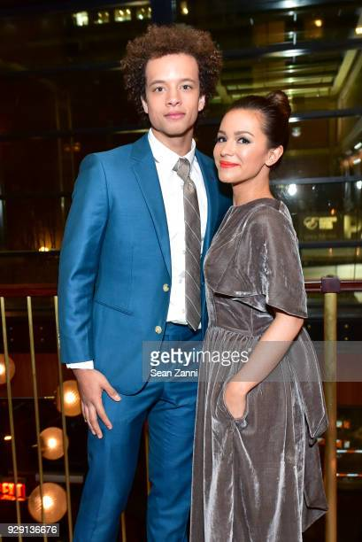 Damon J Gillespie and Shirley Rumierk attend the after party for Rise hosted by NBC The Cinema Society at Legacy Records on March 7 2018 in New York...
