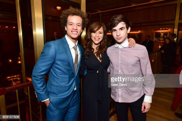 Damon J Gillespie Rosie Perez and Ted Sutherland attend the after party for Rise hosted by NBC The Cinema Society at Legacy Records on March 7 2018...