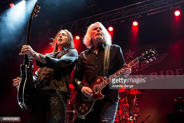 Damon Johnson and Scott Gorham of Black Star Riders perform on stage at O2 Academy Leeds on March 8 2015 in Leeds United Kingdom