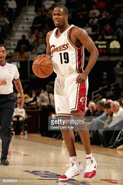 Damon Jones of the Cleveland Cavaliers brings the ball upcourt during the game against the Toronto Raptors on March 21, 2008 at Quicken Loans Arena...