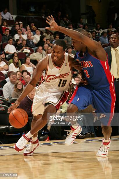 Damon Jones of the Cleveland Cavaliers brings the ball upcourt against Rodney Stuckey of the Detroit Pistons on October 11 2007 at The Quicken Loans...