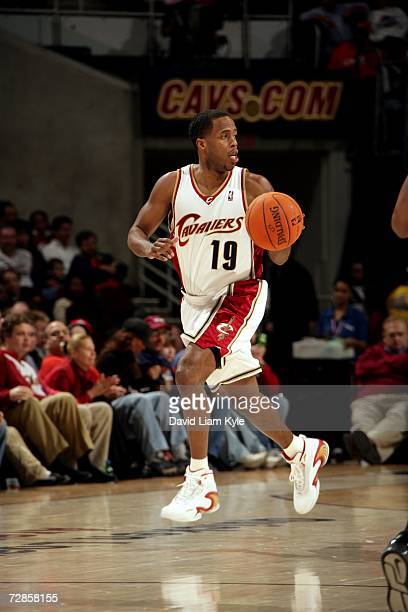 Damon Jones of the Cleveland Cavaliers drives against the Indiana Pacers during the game at Quicken Loans Arena on December 9 2006 in Cleveland Ohio...