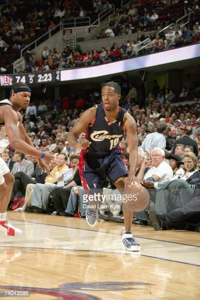 Damon Jones of the Cleveland Cavaliers drives against the New Jersey Nets at Quicken Loans Arena on April 12 2007 in Cleveland Ohio The Cavs won 9476...