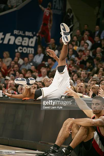Damon Jones of the Cleveland Cavaliers falls out-of-bounds during the game against the Portland Trail Blazers on November 15, 2006 at The Quicken...