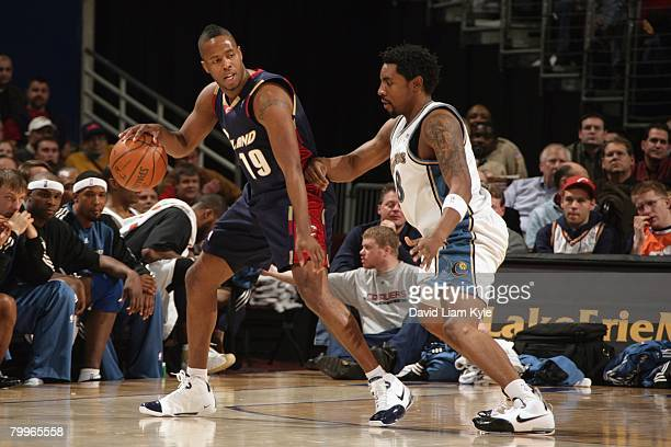 Damon Jones of the Cleveland Cavaliers moves the ball during the NBA game against the Washington Wizards at Quicken Loans Arena on January 23, 2008...