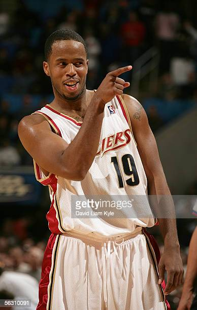 Damon Jones of the Cleveland Cavaliers points to a fan during the game against the Los Angeles Clippers on November 30 2005 at The Quicken Loans...