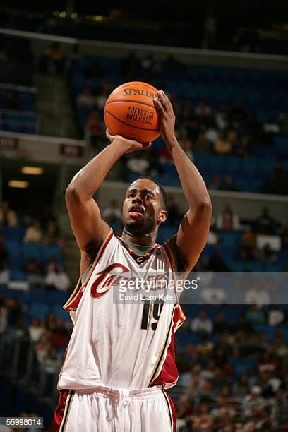 Damon Jones of the Cleveland Cavaliers shoots a free throw against the Philadelphia 76ers during a NBA preseason game October 14 2005 at Quicken...