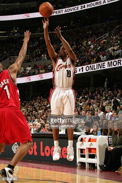 Damon Jones of the Cleveland Cavaliers shoots a jump shot during a game against the Portland Trail Blazers at Quicken Loans Arena on March 17 2006 in...