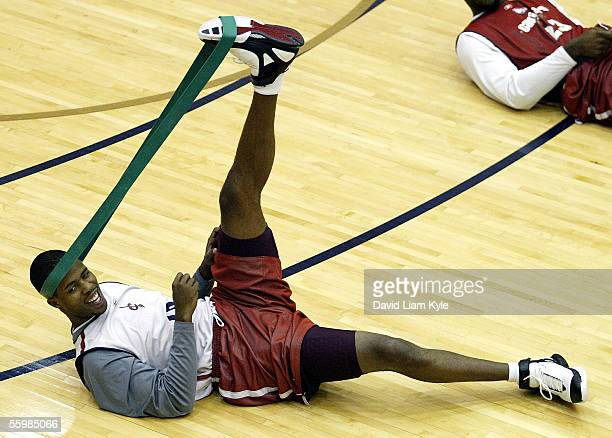 Damon Jones of the Cleveland Cavaliers stretches before practice on October 22, 2005 at Quicken Loans Arena in Cleveland, Ohio. NOTE TO USER: User...
