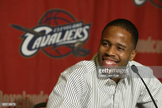 Damon Jones smiles as he attends a media conference to announce his four year contract deal with the Cleveland Cavaliers on September 8, 2005 at Gund...