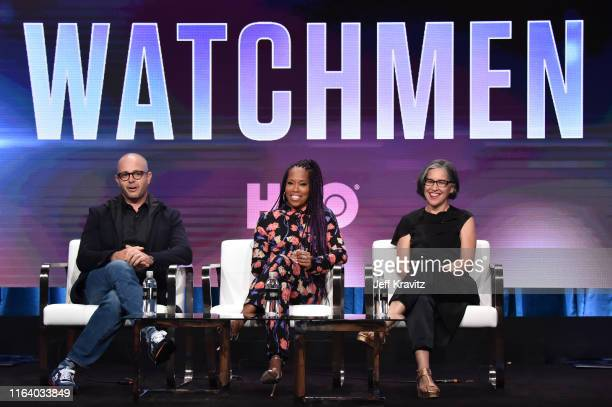 Damon Lindelof Regina King and Nicole Kassell of 'Watchmen' speak onstage during the HBO Summer TCA Panels on July 24 2019 in Beverly Hills California
