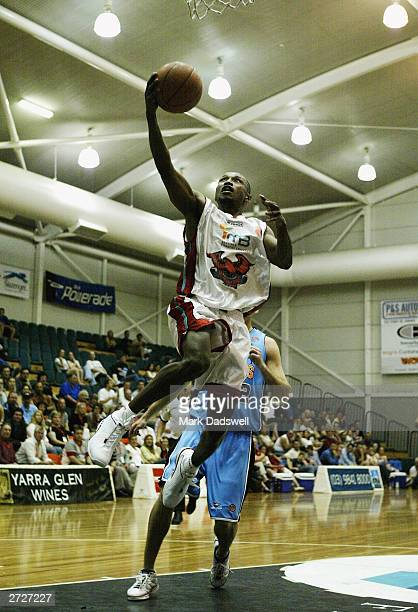 Damon Lowery for the Hawks goes to the basket during the NBL round 7 match between the Liberty Giants and the Wollongong Hawks at the Melbourne...