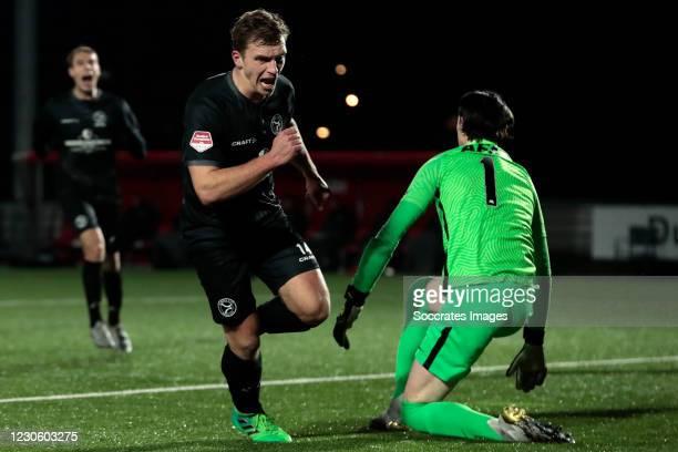 Damon Mirani of Almere City celebrates 3-0 during the Dutch Keuken Kampioen Divisie match between AZ Alkmaar U23 v Almere City at the AFAS...
