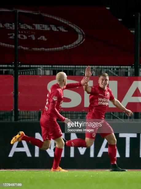 Damon Mirani of Almere City celebrates with Daniel Breedijk of Almere City during the Dutch Keuken Kampioen Divisie match between Almere City v AZ...