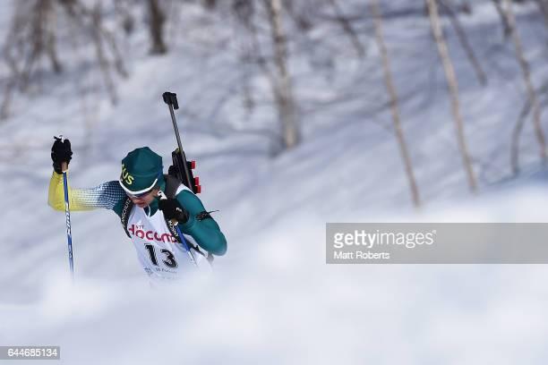 Damon Morton of Australia competes in the men's biathlon 12.5 km pursuit on day seven of the 2017 Sapporo Asian Winter Games at Nishioka Biathlon...