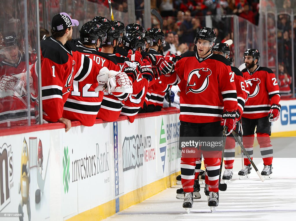 Damon Severson #28 of the New Jersey Devils celebrates his first period goal against the Tampa Bay Lightning during their game at the Prudential Center on October 29, 2016 in Newark, New Jersey.