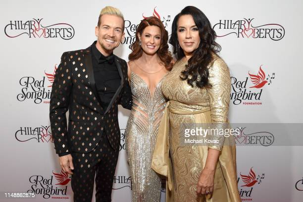 Damon Sharpe Hilary Roberts and Felicia Greer attend the Hilary Roberts Birthday Celebration and the Red Songbird Foundation Launch on May 11 2019 in...