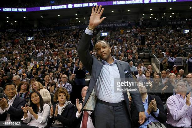 TORONTO APRIL 15 Damon Stoudamire acknowledges the crowd when he's introduced in the 1st quarter Toronto Raptors vs Charlotte Hornets during 1st half...