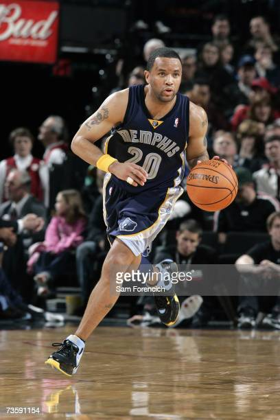 Damon Stoudamire of the Memphis Grizzlies moves the ball against the Portland Trail Blazers during the game at Rose Garden on February 23 2007 in...