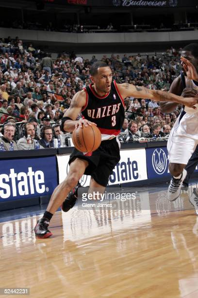 Damon Stoudamire of the Portland Trail Blazers drives the ball against the Dallas Mavericks on March 17 2005 at the American Airlines Center in...