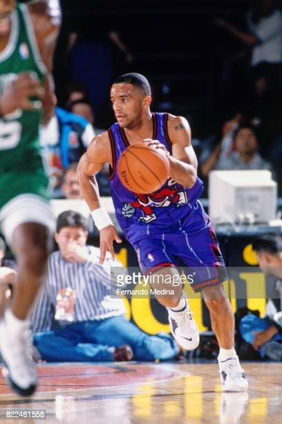 Damon Stoudamire of the Toronto Raptors dribbles during the 1996 Rookie Challenge Practice on February 9 1996 at the Alamodome in San Antonio Texas...
