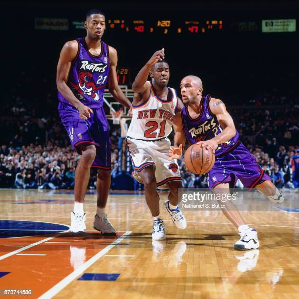 Damon Stoudamire of the Toronto Raptors drives during a game played on November 14 1996 at Madison Square Garden in New York City NOTE TO USER User...