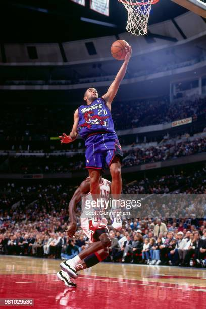 Damon Stoudamire of the Toronto Raptors goes to the basket against the Chicago Bulls on November 7 1995 at the United Center in Chicago Illinois NOTE...