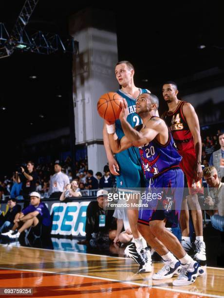 Damon Stoudamire of the Toronto Raptors shoots the ball during the 1996 Rookie AllStar Practice on February 10 1996 at the Alamodome in San Antonio...