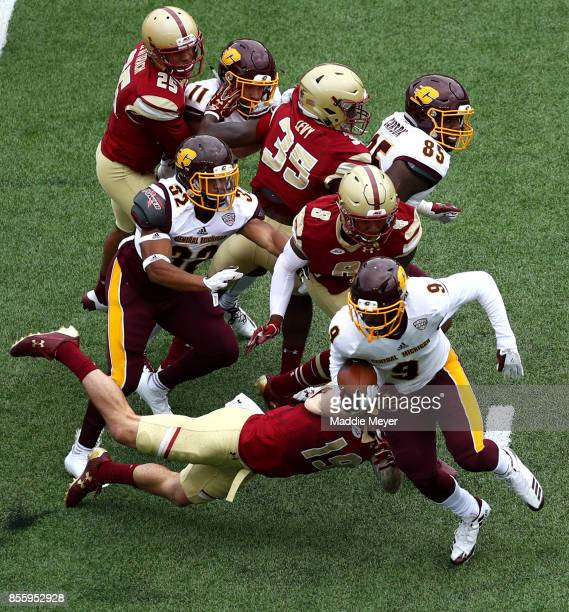 Damon Terry of the Central Michigan Chippewas is tackled by Ben Glines of the Boston College Eagles during the first quarter at Alumni Stadium on...
